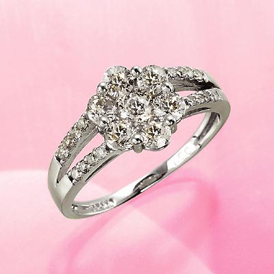 プラチナ900 計1.0ct ダイヤフラワーリング KG0393 ( ダイヤモンド / 1.0カラット / プラチナ / リング / 鑑別書付き )