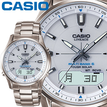 カシオ ウェーブセプター リニエージ M100TD メンズ ホワイト チタンバンド マルチバンド6 ソーラー電波時計 CASIO Wave Ceptor LINEAGE