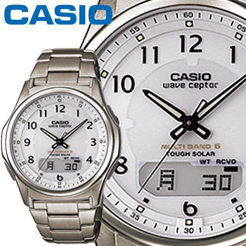 カシオ ウェーブセプター M630TDE メンズ ホワイト チタンバンド プッシュ&リリースバンドタイプ マルチバンド6 ソーラー電波時計 CASIO Wave Ceptor 2014年モデル【楽ギフ_メッセ入力】