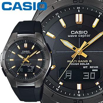 カシオ ウェーブセプター M640B メンズ ブラック×ゴールド 樹脂バンド マルチバンド6 ソーラー電波時計 CASIO Wave Ceptor 2014年モデル【楽ギフ_メッセ入力】