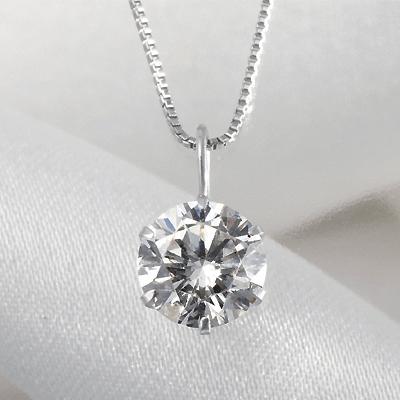 プラチナ 0.9ct ダイヤペンダント KG0267 ( ダイヤモンド / 一粒石 / I1クラス / Iカラー / ペンダント / プラチナ / 0.9カラット / 鑑定書付き )