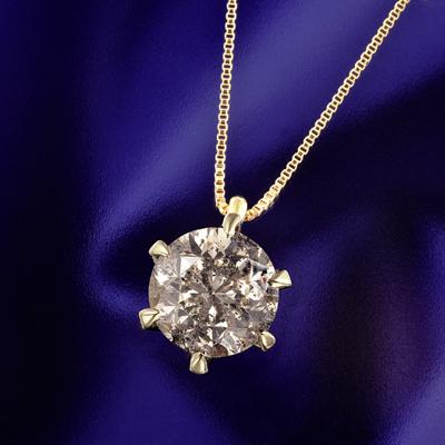 18金 大粒2ct ライトブラウン ダイヤペンダント KG0494 ( ダイヤモンド / 一粒石 / I1クラス / K18 / ライトブラウン / ペンダント / 2.0カラット )