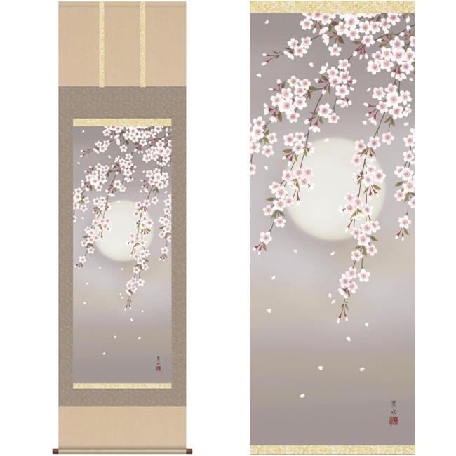 掛軸 夜桜 緒方葉水 筆 K10674