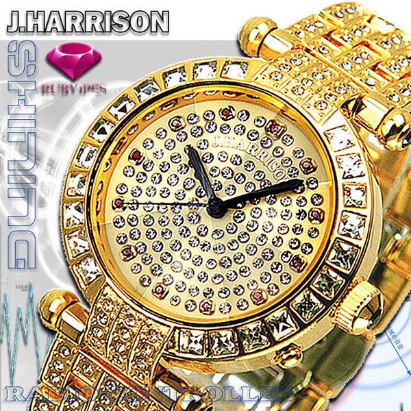 ジョン・ハリソン[J.HARRISON]天然ルビー1石付 シャーニング 電池式 電波時計 JH-088M メンズ 紳士用