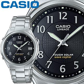 カシオ ウェーブセプター リニエージ 120DEJ メンズ ブラック (アラビア数字) アナログ ステンレスバンド ソーラー電波時計 CASIO Wave Ceptor LINEAGE
