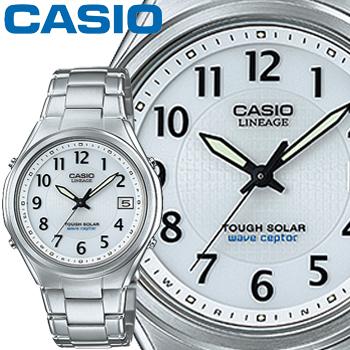 カシオ ウェーブセプター リニエージ 120DEJ メンズ ホワイト (アラビア数字) アナログ ステンレスバンド ソーラー電波時計 CASIO Wave Ceptor LINEAGE