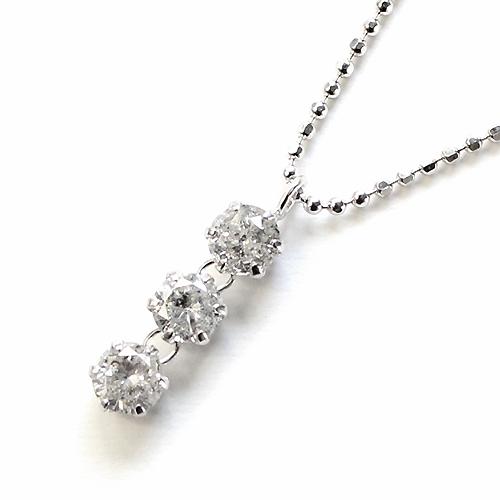 スリーストーン ペンダント ダイヤモンド 0.5ct シルバー925