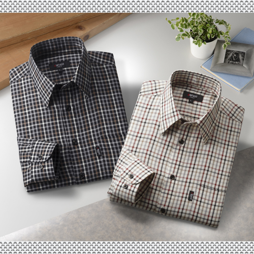 Pierucci / ピエルッチ チェック柄 長袖シャツ 2色組