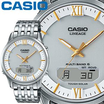 カシオ ウェーブセプター リニエージ M180D メンズ ホワイト ステンレスバンド マルチバンド6 ソーラー電波時計 無反射コーティングサファイアガラス CASIO Wave Ceptor LINEAGE