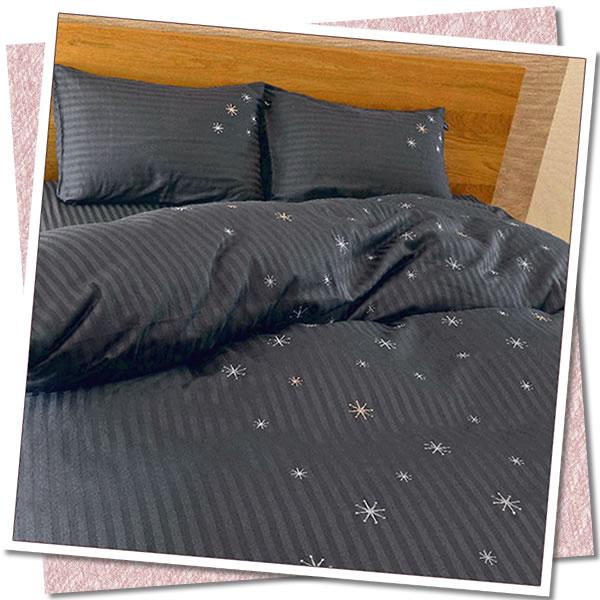 【ダブル 布団用カバー4点セット】ツインクル 綿サテン ストライプ 掛敷枕 (和) 直送品