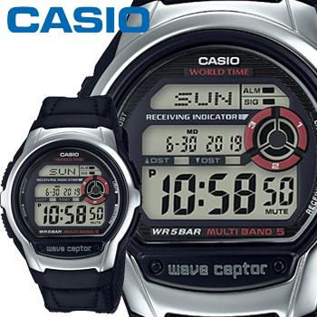 カシオ ウェーブセプター M60B メンズ クロスバンド ブラック マルチバンド5 5気圧防水 電波時計 CASIO Wave Ceptor