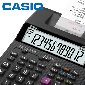 CASIO プリンター電卓 加算器方式 セミデスクタイプ HR170RCBK リプリント機能/チェック機能/2色印字/12桁/原価・売価・利益率計算に便利な専用キー/2電源方式