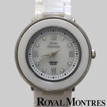 ロイヤルモントレス セラミック ソーラー ウオッチ レディース ホワイト/シルバー ROYAL MONTRES