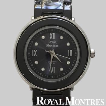 ロイヤルモントレス セラミック ソーラー ウオッチ レディース ブラック/シルバー ROYAL MONTRES