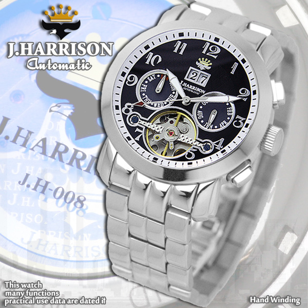 ジョン・ハリソン[J.HARRISON] 多機能付ビッグテンプ自動巻&手巻きJH-008BB メンズ 紳士用