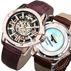 ジョン・ハリソン[J.HARRISON] 両面スケルトン自動巻&手巻腕時計 JH-042PB メンズ 紳士用