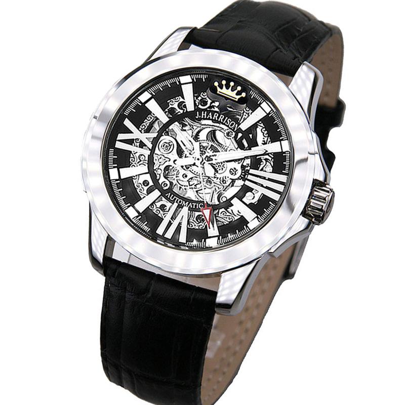 ジョン・ハリソン[J.HARRISON] 両面スケルトン自動巻&手巻腕時計 JH-042SB メンズ 紳士用