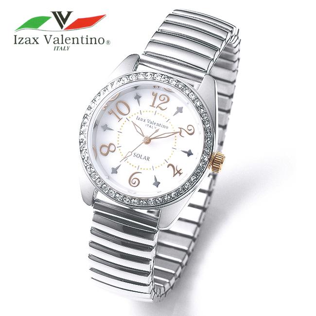 アイザックバレンチノ ソーラーウォッチレディース 婦人用 腕時計 Izax Valentino Italy イタリア 蛇腹ベルト 伸縮バンド じゃばら 電池交換不要