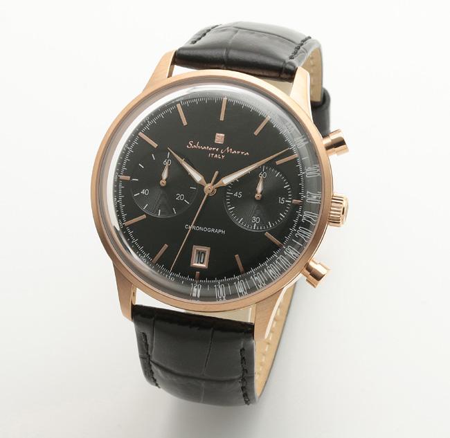 【サルバトーレ・マーラ】クオーツ時計・デイト表示 SM19106-PGBKメンズ Salvatore Marra サルバトーレマーラ