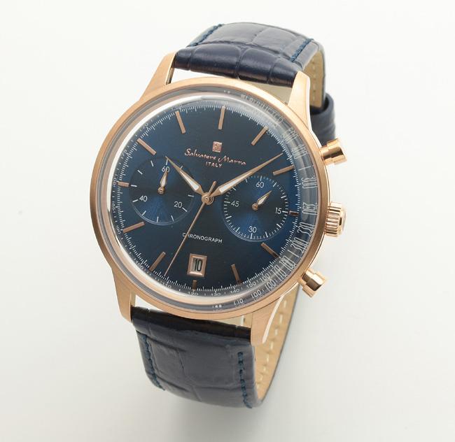 【サルバトーレ・マーラ】クオーツ時計・デイト表示 SM19106-PGBLメンズ Salvatore Marra サルバトーレマーラ