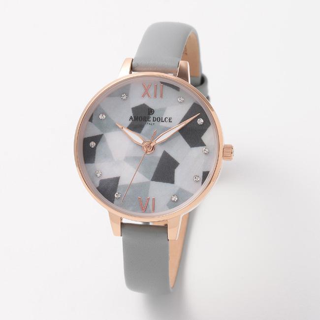 【アモーレ・ドルチェ】レディース腕時計 AD18304-PGWHMOP/GYAMORE DOLCE 革ベルト クオーツ 誕生日プレゼント 女性 クリスマス ギフト