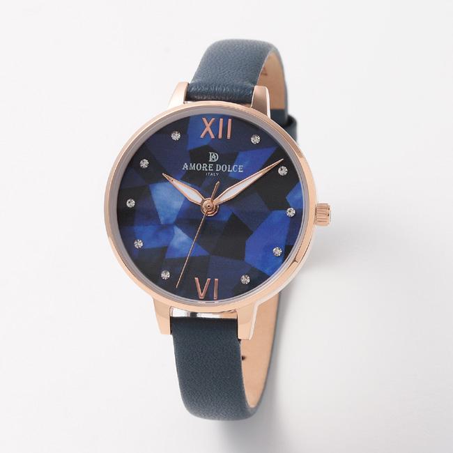 【アモーレ・ドルチェ】レディース腕時計 AD18304-PGNVMOP/NVAMORE DOLCE 革ベルト クオーツ 誕生日プレゼント 女性 クリスマス ギフト