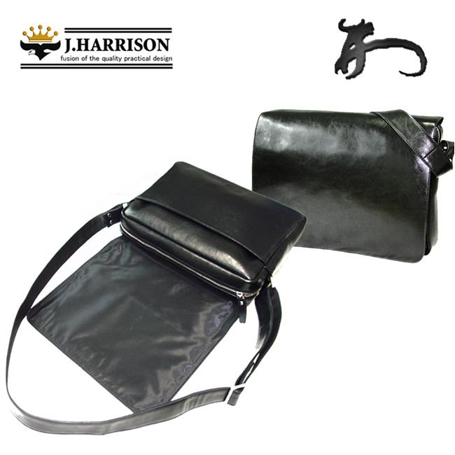 ジョン・ハリソン[J.HARRISON]メンズ 牛革&合皮ショルダーバッグ ブラック JWT-022BK