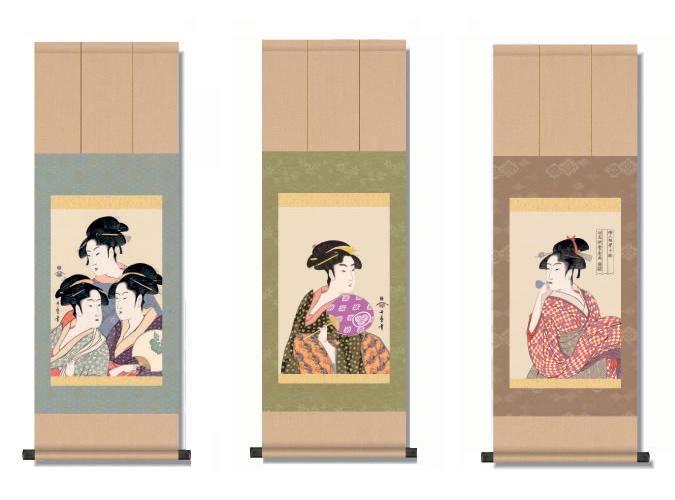 歌麿 浮世絵 美人画掛軸 K9072