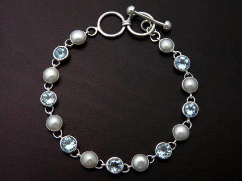 【UC Silver】 Silver925/淡水パール/ブルートパーズ ブレスレット