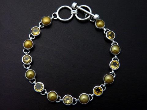 【UC Silver】 Silver925/淡水パール/シトリン ブレスレット