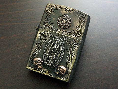 【good vibrations】【太陽神/グアダルーペの聖母/スカル】 Brass/Silver925/Copper ZIPPO オイルライター(古美仕上)