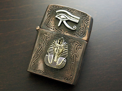 【good vibrations】【ホルスの目とツタンカーメン】 Brass/Silver925/Copper ZIPPO オイルライター(古美仕上)
