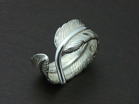 【送料無料】 【インディアンジュエリー】【羽根/イーグルフェザー】 Silver925 フリーサイズ リング(小)