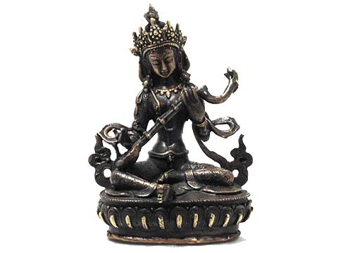 【チベット工芸品】 青銅製 サラスヴァティー像(155x100x60mm)
