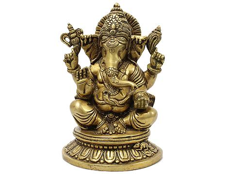 【チベット工芸品】 真鍮製 ガネーシャ座像(210x135x135mm)