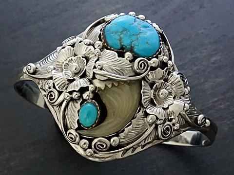 【インディアンジュエリー】 Silver925/動物の爪/ターコイズ バングル