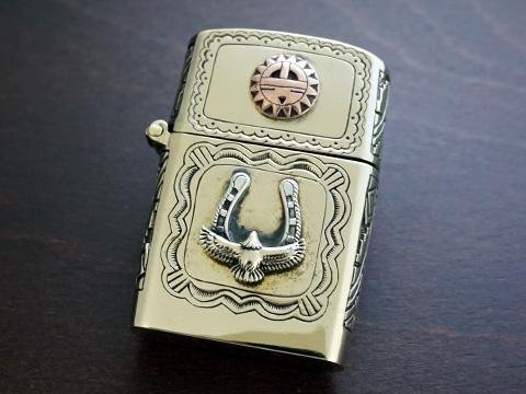 【good vibrations】【太陽の精霊サンカチナ/イーグル/蹄鉄】 Brass/Silver925/Copper ZIPPO オイルライター