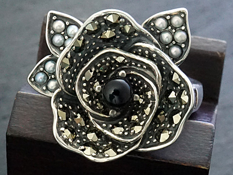 【Rokuzan/碌山】【薔薇/バラ/ローズ】 Silver925/オニキス/シードパール/マルカジット アンティークデザイン/リング