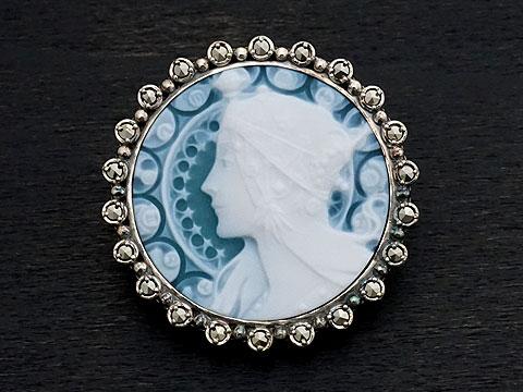 【Rokuzan×various jewelry】【アルフォンス・ミュシャ「Zodiac/黄道十二宮」】 Silver925/メノウカメオ(緑)/マルカジット アンティークデザイン/ブローチ兼ペンダントトップ
