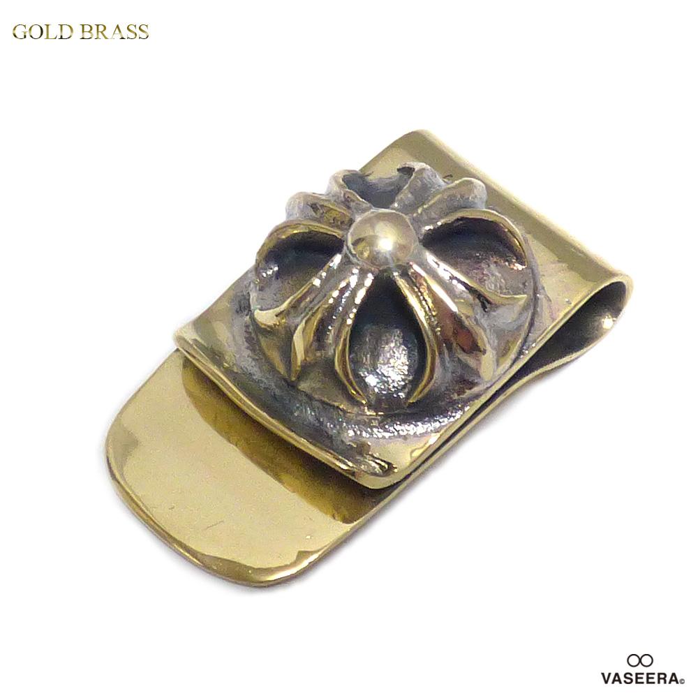 VASEERA -ヴァシーラ- ブラス 真鍮 卓越 実物 フローラルクロス紋章 32mm 札挟み MK-190B マネークリップ BRASS メンズ GOLD