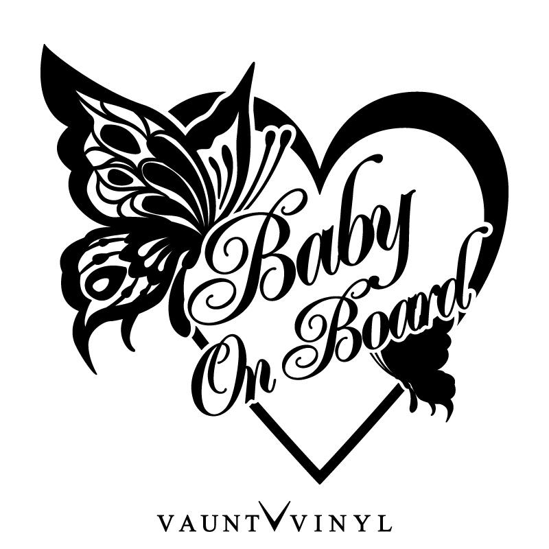 Vaunt Vinyl Sticker Store Butterfly Baby On Board Sticker