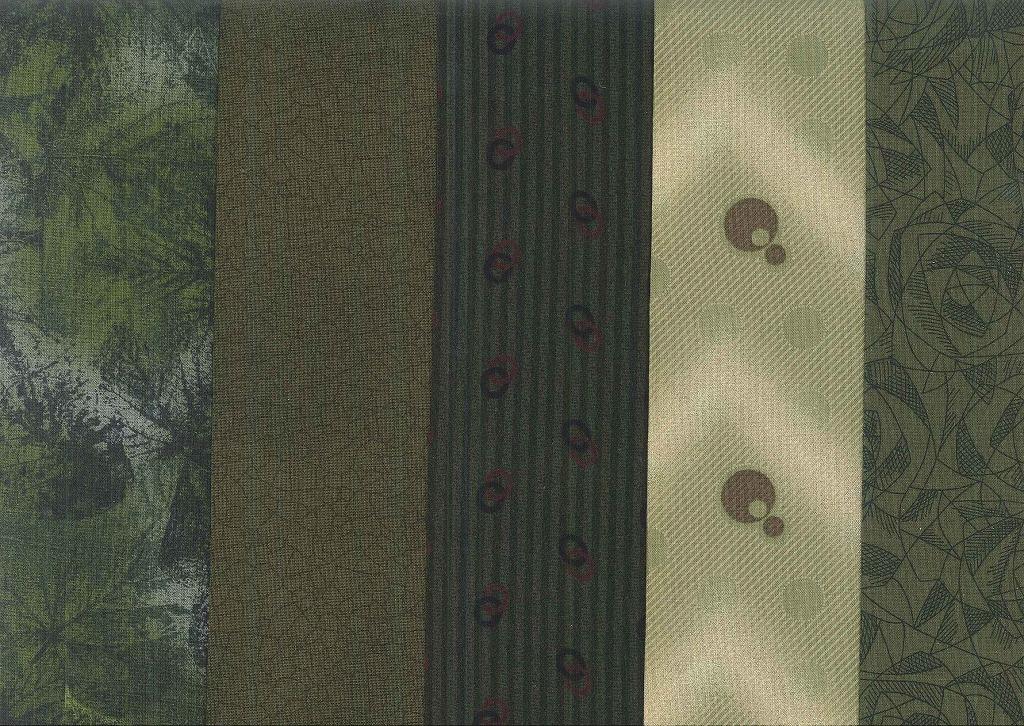 休日 パッチワーク生地 パッチワーク布プリント5枚セット グリーン系 税込 柴田明美セレクト B