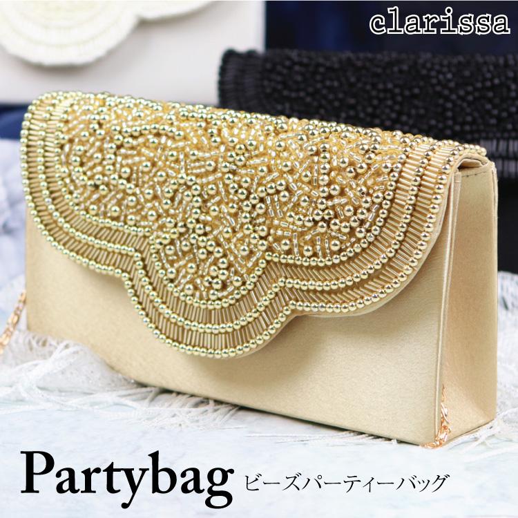 c20c949802 Party bag wedding ceremony party back bag back bag beads bag bag size grain  gold pearl black satin clutch clutch bag clutch back subbag sub back Lady s  ...