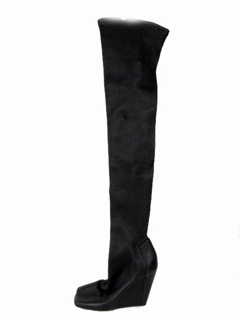 リックオウエンス Rick Owens ニーハイ ブーツ シューズ ロング オープントゥ レザー 37 黒 ※9 ☆AA★/☆J15 レディース 【中古】【ベクトル 古着】 181022 ベクトル マークスラッシュ