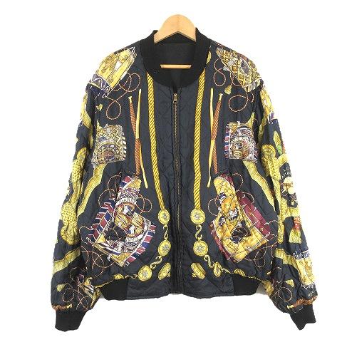 【中古】エルメス HERMES MA-1 リバーシブル ジャケット ブルゾン LES TAMBOURS スカーフ 52 黒 ブラック/O75 メンズ 【ベクトル 古着】 190719 ベクトル マークスラッシュ