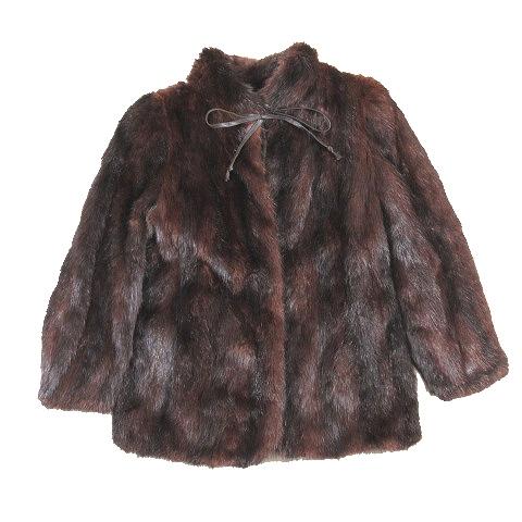 【中古】ミンク ファー コート ジャケット リボン ミックス ブラウン 茶色 黒 ブラック/1 レディース 【ベクトル 古着】 200413 ベクトル マークスラッシュ