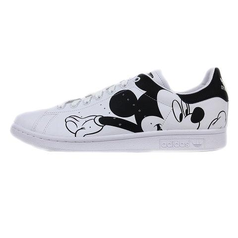 【中古】未使用品 アディダスオリジナルス adidas originals × ディズニー Disney FW2895 Stan Smith Mickey Mouse スタンスミス ミッキーマウス スニーカー シューズ レザー ロゴ 29.5 白 ホワイト/☆K47 メンズ 【ベクトル 古着】 200725 ベクトル マークスラッシュ