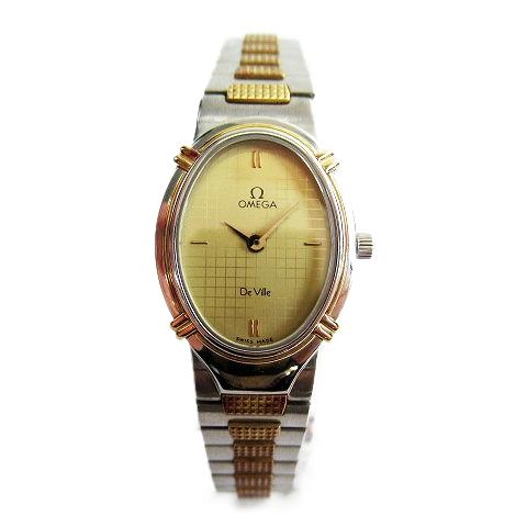 【中古】オメガ OMEGA De Ville デビル 腕時計 電池交換済み 1450 コンビ アンティーク ラウンド ゴールド ウォッチ 純正ブレス クォーツ レディース レディース 【ベクトル 古着】 200208 ベクトル マークスラッシュ