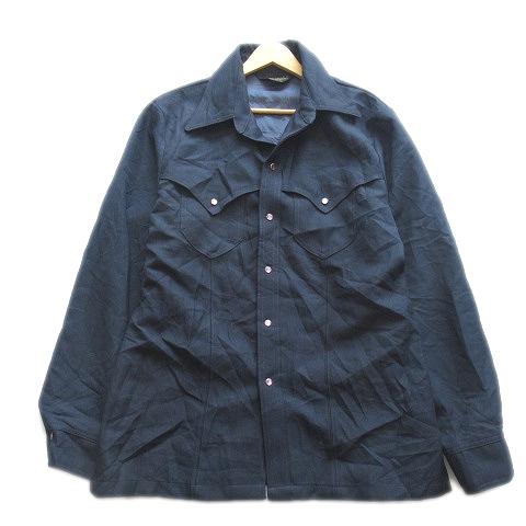 【中古】70's ラングラー WRANGLER ヴィンテージ オープンカラー シャツ ジャケット ブルゾン スナップボタン USA製 ネイビー メンズ/9▽4 メンズ 【ベクトル 古着】 200416 ベクトル マークスラッシュ