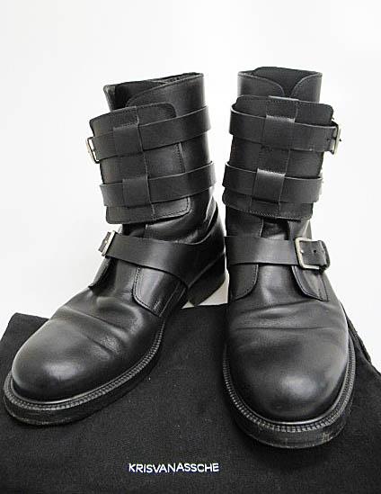 クリスヴァンアッシュ KRIS VAN ASSCHE ベルト コンバット レザー ブーツ 41 黒ブラック ブランド古着ベクトル 中古▲171206 0080 メンズ